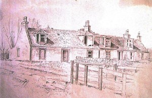 Pencil Sketch of Little Kaimhill Cottages before they were demolished